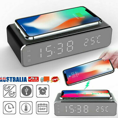AU24.65 • Buy Wireless Charging Alarm Clock Led Digital Alarm Clock With QI Wireless Charger
