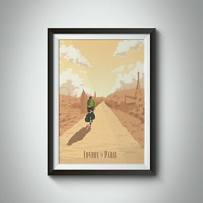 London To Paris Cycling Travel Poster • 35£