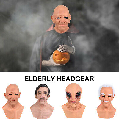 Latex Disguise Cosplay Old Man Mask Male Costume Halloween Party Realistic Masks • 12.95£