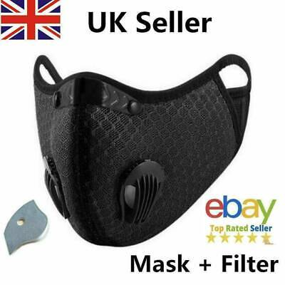 Face Mask Reusable Washable Anti Pollution PM2.5 Two Air Vent With Filter UK • 4.69£