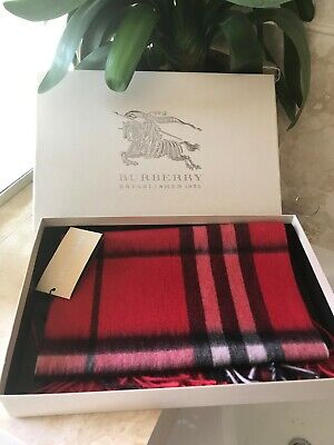 Red Burberry Cashmere Scarf With Fringes New  • 200£