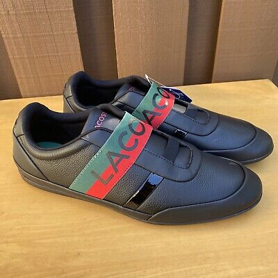 Lacoste Men Shoes Misano Elastic 120 Black Green Leather Casual Sneakers Size 13 • 82.22£
