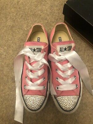 Converse Size 4 Pink Swarovski Crystal Toes Ribbon Laces Good Condition In Box • 25£
