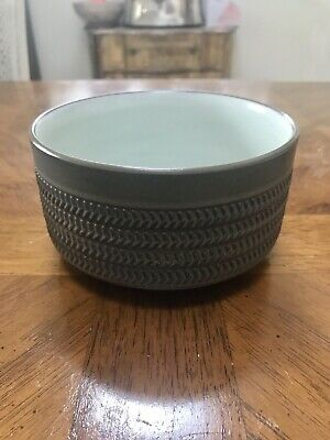 Vintage Denby Camelot Olive Green Chevron Stoneware Bowl 5  Straight Sided Deep. • 14£