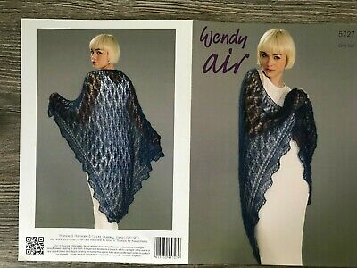 Wendy Air Knitting Pattern: Ladies Shawl, Fine Mohair, One Size, 5727 • 3.14£