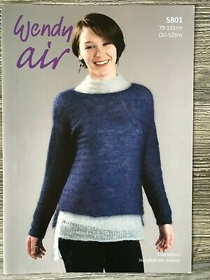 Wendy Air Knitting Pattern: Ladies Sweaters, Fine Mohair, 30-52 , 5801 • 3.14£