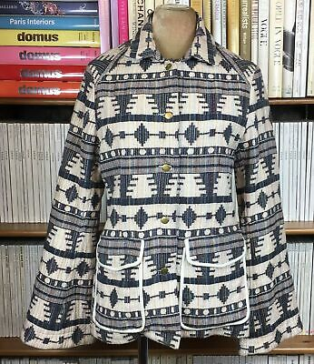 Womens Ethnic Embroidered Print Jacket Coat 8 Blue Cotton Casual Navajo US 4 XS • 17.99£