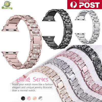 AU16.99 • Buy For Apple IWatch Series 6 5 4 3 2 1 Watch Lady Bling Band Stainless Steel Strap