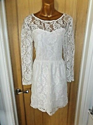 Gorgeous White Floral Lace Cocktail Evening South Dress Size 16 • 4.69£