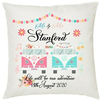 £10 • Buy Personalised Campervan Wedding Anniversary Cushion Cover - Lovely Gift-
