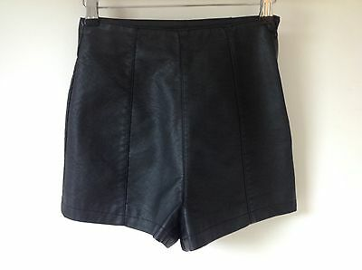 Topshop Size 6 Black Faux Leather Pvc Pleather Shorts High Waisted Hot Pants 😍 • 19.99£