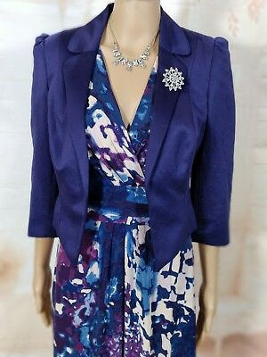 Mother Of The Bride Purple And Blue Dress & Jacket Wedding Outfit  Size 12 • 34.99£