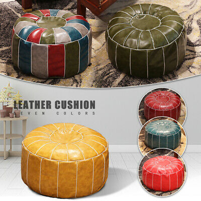 Round Moroccan Leather Footstool Pouffe Pouf Handmade DIY Ottoman Home Storage • 24.19£