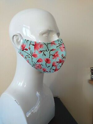 4 Ply Cotton And Silk Face Mask Green And Magnolia • 6£