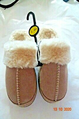M & S MINK/DUCKEGG/BERRY LEATHER REAL SHEEPSKIN SLIPPERS/MULES 3,5,6,7,8 Rrp £35 • 15.99£