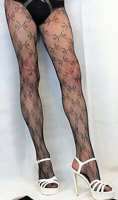 £5.85 • Buy Fabulous Black Butterfly Patterned Mesh Lace Net To The Waist Tights ONE SIZE