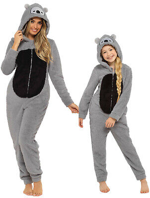 Womens Girls All In One Pyjamas KOALA BEAR Animal Grey Fleece Matching Onezee • 20.99£