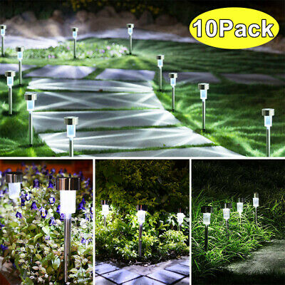 10 X Solar Power LED Stake Lights Patio Outdoor Garden Lawn Path Lamp Cool White • 9.40£