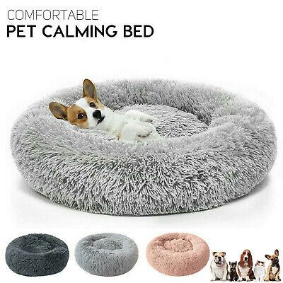 Dog Cat Bed Fluffy Donut Kitten Puppy Pet Cushion Calming Mattress Warm Comfy • 19.95£