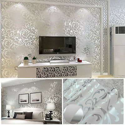 Brand Home Decor Metallic Textured Damask Embossed Wallpaper Soft Grey Silver UK • 7.99£