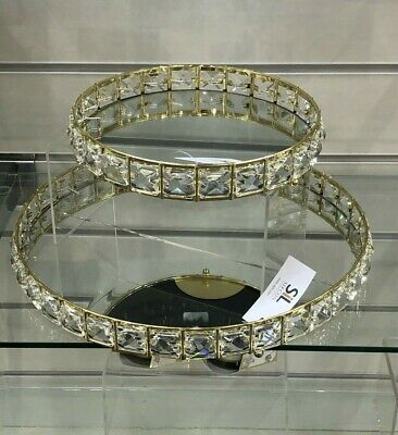 £17.95 • Buy Gold Gem Mirror Glass Crystal Decorative Metal Candle Plate Perfume Display Tray