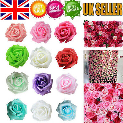 50pcs Artificial Flowers Foam Rose Fake Flower Wedding Party Bouquet UK • 4.89£