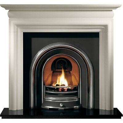 Limestone Surround Highlight Polished Cast Arch Granite Hearth And Gas Fire • 1,550£