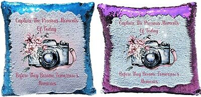 Photographer/Vlogging Lovely Memories Quote Reveal Sequin Cushion Cover • 15.50£