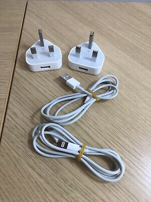 100% Genuine Apple Charger Plugs X 2 With Lead 5W USB Power For IPhone IPod IPad • 15.99£