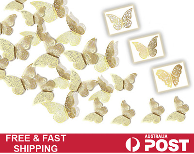 AU5.55 • Buy 12 PCS 3D Butterfly Wall Stickers Decal  Kids Nursery Home Wedding Décor GOLD