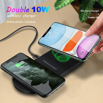 AU20.59 • Buy 20W Qi Dual Wireless Charger Dock Mat For IPhone 12Pro 11 XS Samsung S20+ Note20