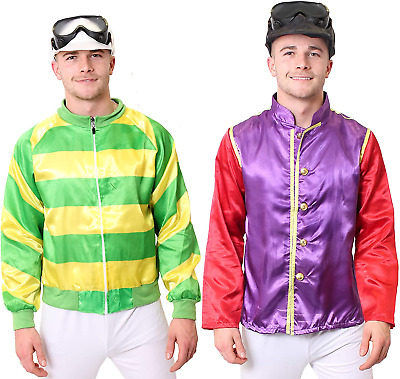 Jockey Costume Green And Yellow Stripes Fancy Dress Outfit With Jacket And Hat - • 16.78£