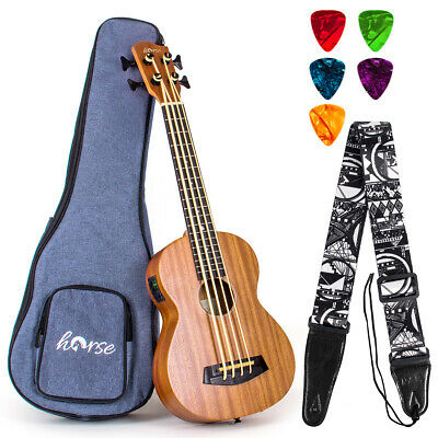 AU129.99 • Buy Horse Bass Ukulele Sapele Ukelele For Beginer With Gig Bag Tuner Strap Picks
