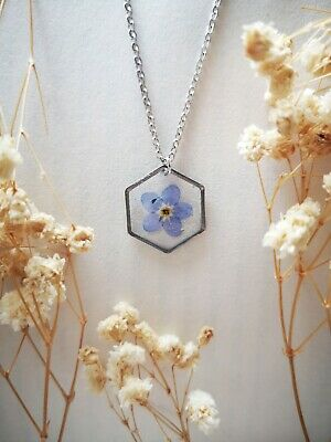 Handmade Cute Forget Me Not Resin Necklace Real Pressed Flower Jewellery UK Gift • 11.50£