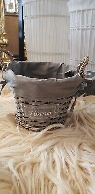 Small Wicker Storage Baskets, Grey With Washable Material. FR0030G. • 4.99£