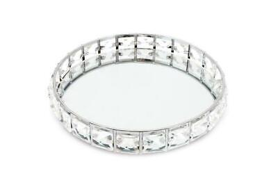 £17.95 • Buy Silver Gem Mirror Glass Crystal Jewels Metal Candle Plate Perfume Display Tray