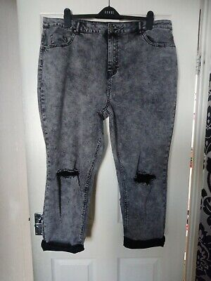 Ladies Stretch Ripped Crop Jeans Plus Size 22 Leg 24  By Simply Be BNWT • 3£
