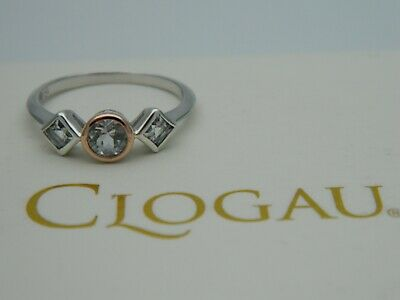 Clogau Silver & Rose Gold Welsh Royalty Anniversary Topaz Ring RRP £89.00 Size O • 75£