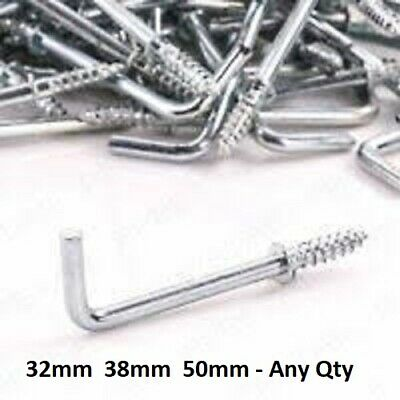 DRESSER CUP HOOKS 32mm 38mm Large Small L Shape Square Silver Screw Wall Hanger • 0.99£