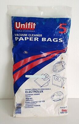 Unifit Vacuum Cleaner Paper Bags X5 Electrolux Ingenio Euro Compact Compact Powe • 0.99£