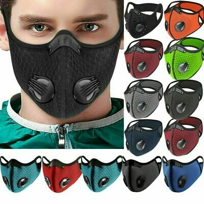 Reusable Washable Anti Pollution Face Mask PM2.5 Two Air Vent With Filter UK • 3.56£