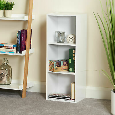 Large Cube 3 Tier Wooden Bookcase Display Rack Book CD DVD Storage Shelf Unit UK • 16.99£