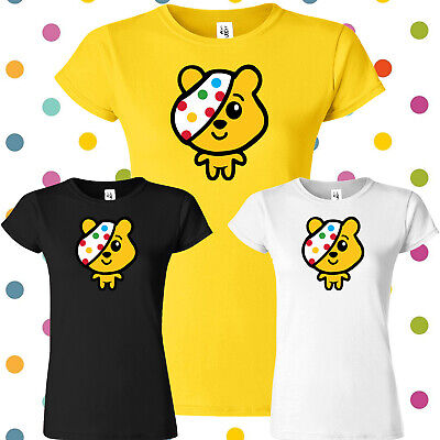 Spotty Day Ladies T Shirt Children In Need Pudsey Bear Dotted Spots Womens Top • 10.99£