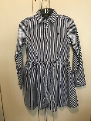 Girls Polo Ralph Lauren Dress Age 10 Years Navy And White Stripes. 100% Genuine • 9.50£