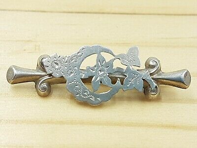Sterling Silver Crescent Bar Brooch With Foliage - Hallmarked Chester 1911 - • 34.99£