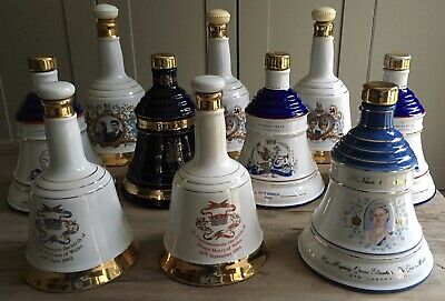 10 X Royal Family Wade Bells Whisky Decanters (empty) • 49.95£