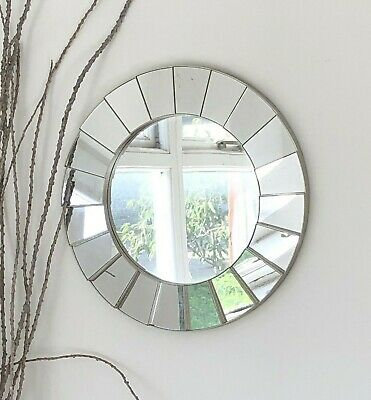 Silver Ornate Art Deco Round Wall Mirror Decorative Vintage Style • 14.95£