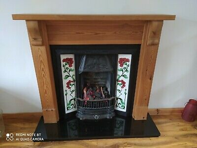 Cast Iron Fireplace With Coal Effect Gas Fire And Decorative Tile Surround • 350£