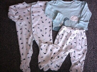 Baby Boys Matching Set Sleepsuit, Pyjamas & Hat 3-6 Months Excellent Condition • 0.99£