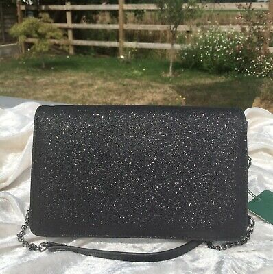 🌸Fab Hobbs Black Glitter Evening Clutch / Shoulder Bag 🌸 • 1.70£